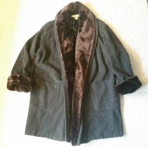 The Limited S Gray Wool Brown Faux Fur Long Coat